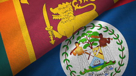 Sri Lanka and Belize two flags textile cloth, fabric texture