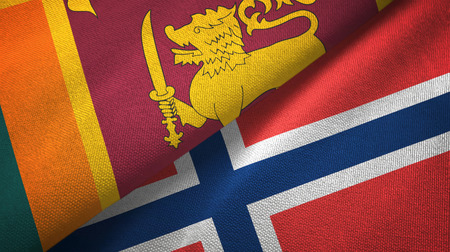 Sri Lanka and Norway two flags textile cloth, fabric texture