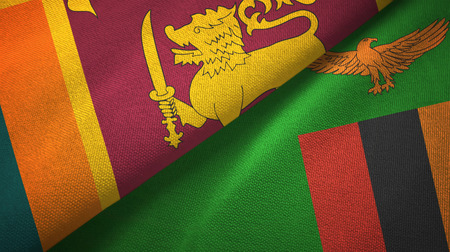 Sri Lanka and Zambia two flags textile cloth, fabric texture