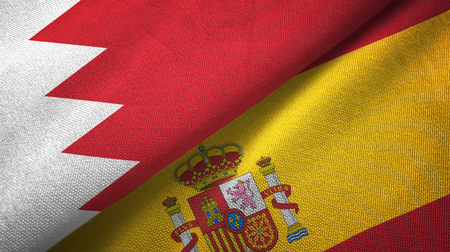 Bahrain and Spain two flags textile cloth, fabric texture