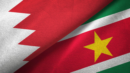 Bahrain and Suriname two flags textile cloth, fabric texture