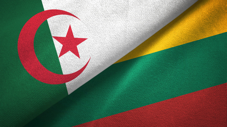 Algeria and Lithuania two flags textile cloth, fabric texture Foto de archivo