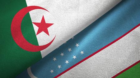 Algeria and Uzbekistan two flags textile cloth, fabric texture