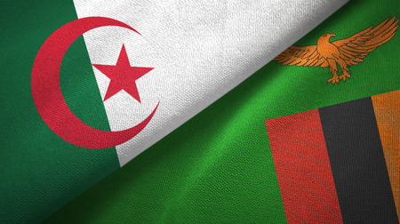 Algeria and Zambia two flags textile cloth, fabric texture Stock Photo