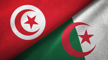 Tunisia and Algeria two flags textile cloth, fabric texture Banque d'images