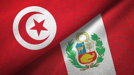 Tunisia and Peru two flags textile cloth, fabric texture