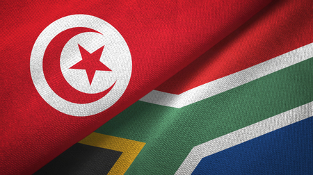 Tunisia and South Africa two flags textile cloth, fabric texture Imagens