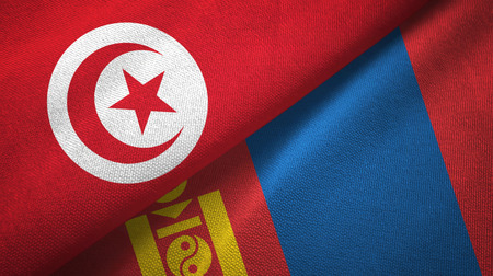 Tunisia and Mongolia two flags textile cloth, fabric texture