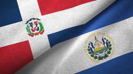 Dominican Republic and El Salvador two flags textile cloth, fabric texture
