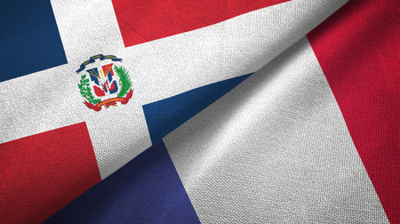 Dominican Republic and France two flags textile cloth, fabric texture 스톡 콘텐츠