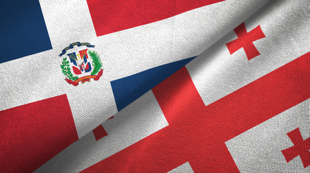 Dominican Republic and Georgia two flags textile cloth, fabric texture