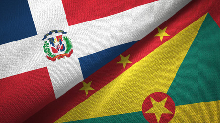 Dominican Republic and Grenada two flags textile cloth, fabric texture