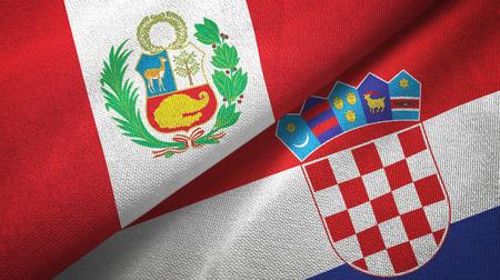 Peru and Croatia two flags textile cloth, fabric texture