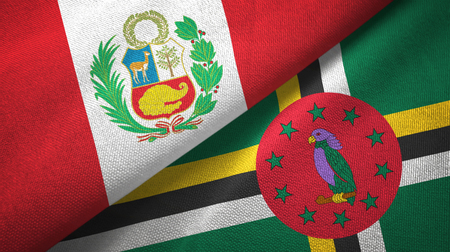 Peru and Dominica two flags textile cloth, fabric texture