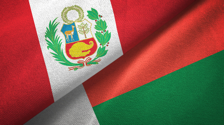 Peru and Madagascar two flags textile cloth, fabric texture