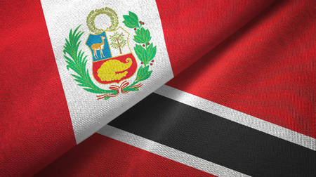 Peru and Trinidad and Tobago two flags textile cloth, fabric texture