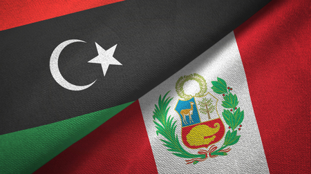 Libya and Peru two flags textile cloth, fabric texture