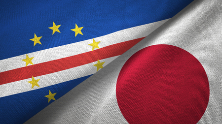 Cabo Verde and Japan two flags textile cloth, fabric texture