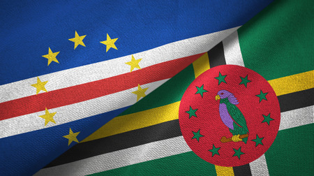 Cabo Verde and Dominica two flags textile cloth, fabric texture
