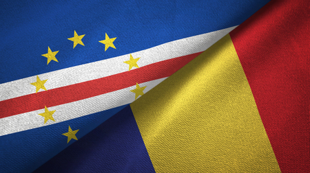 Cabo Verde and Romania two flags textile cloth, fabric texture