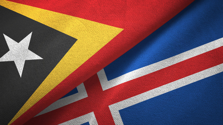 East Timor and Iceland two flags textile cloth, fabric texture Archivio Fotografico