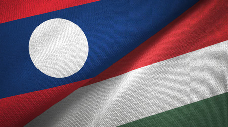 Laos and Hungary two flags textile cloth, fabric texture