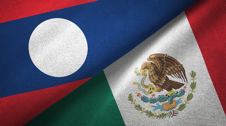 Laos and Mexico two flags textile cloth, fabric texture
