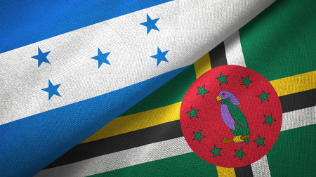 Honduras and Dominica two flags textile cloth, fabric texture