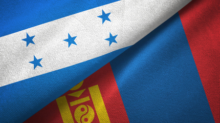Honduras and Mongolia two flags textile cloth, fabric texture Stockfoto