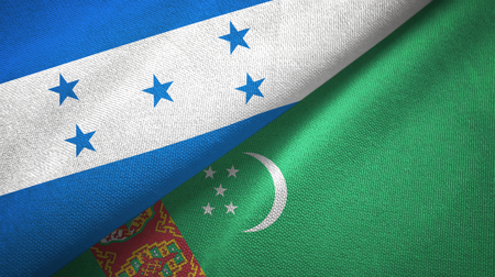 Honduras and Turkmenistan two flags textile cloth, fabric texture