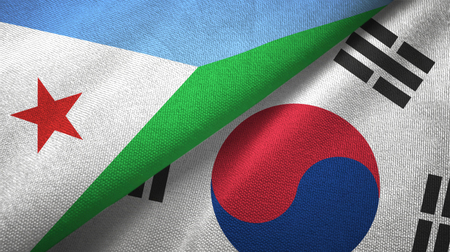 Djibouti and South Korea two flags textile cloth, fabric texture