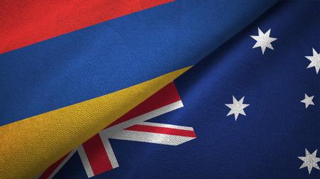 Armenia and Australia two flags textile cloth, fabric texture Stock Photo