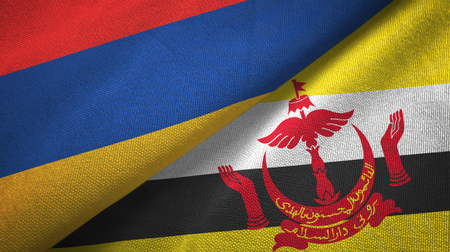 Armenia and Brunei two flags textile cloth Stock Photo