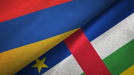 Armenia and Central African Republic two flags textile fabric texture