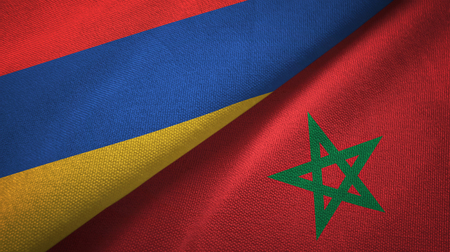 Armenia and Morocco two flags textile cloth, fabric texture Stock Photo