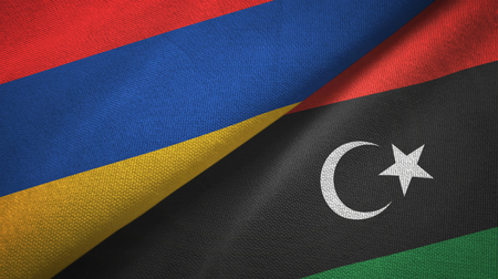 Armenia and Libya two flags textile cloth, fabric texture