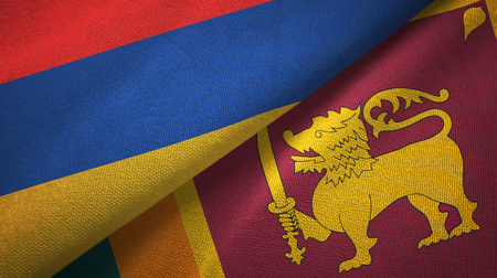 Armenia and Sri Lanka two flags textile cloth, fabric texture Stock Photo
