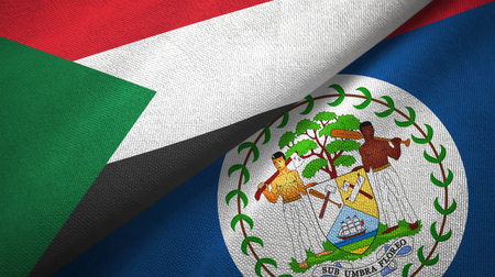 Sudan and Belize two flags textile cloth, fabric texture