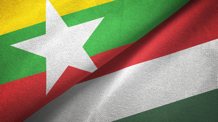 Myanmar and Hungary two flags textile cloth, fabric texture