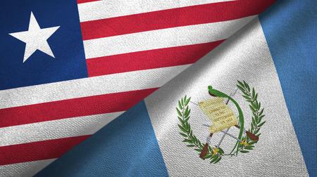 Liberia and Guatemala flags together textile cloth, fabric texture