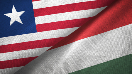 Liberia and Hungary flags together textile cloth, fabric texture