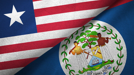 Liberia and Belize two folded flags together