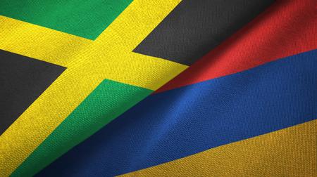 Jamaica and Armenia flags together textile cloth, fabric texture