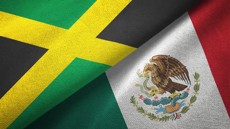 Jamaica and Mexico two flags textile cloth, fabric texture