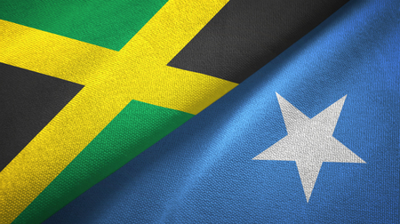 Jamaica and Somalia two flags textile cloth, fabric texture Banque d'images