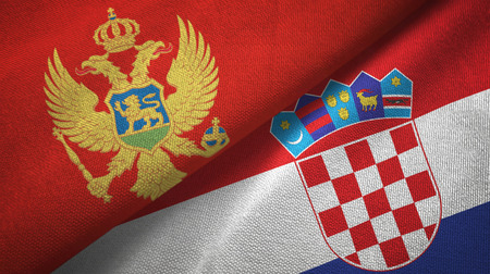 Montenegro and Croatia two flags textile cloth, fabric texture
