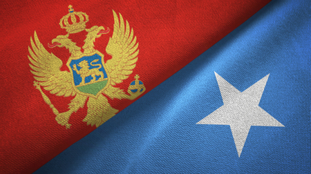 Montenegro and Somalia two flags textile cloth, fabric texture