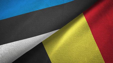 Estonia and Belgium two flags textile cloth, fabric texture Stock Photo