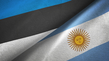 Estonia and Argentina two flags textile cloth, fabric texture