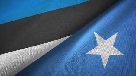 Estonia and Somalia two folded flags together Banque d'images
